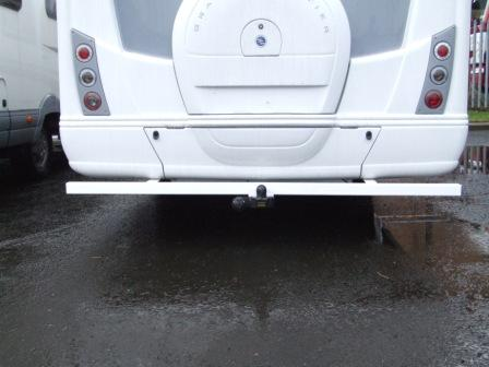 motorhome towbar finished in white